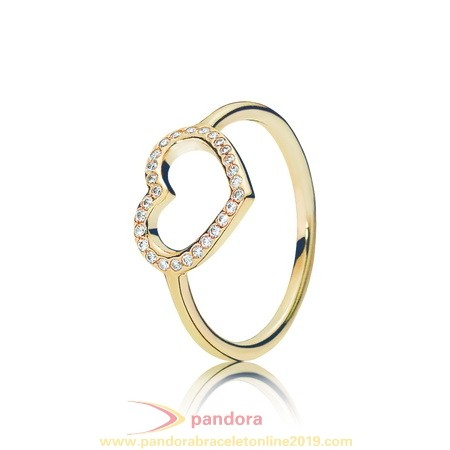 Find Pandora Jewelry Pandora Collections Captured Heart Ring 14K Gold Clear Cz