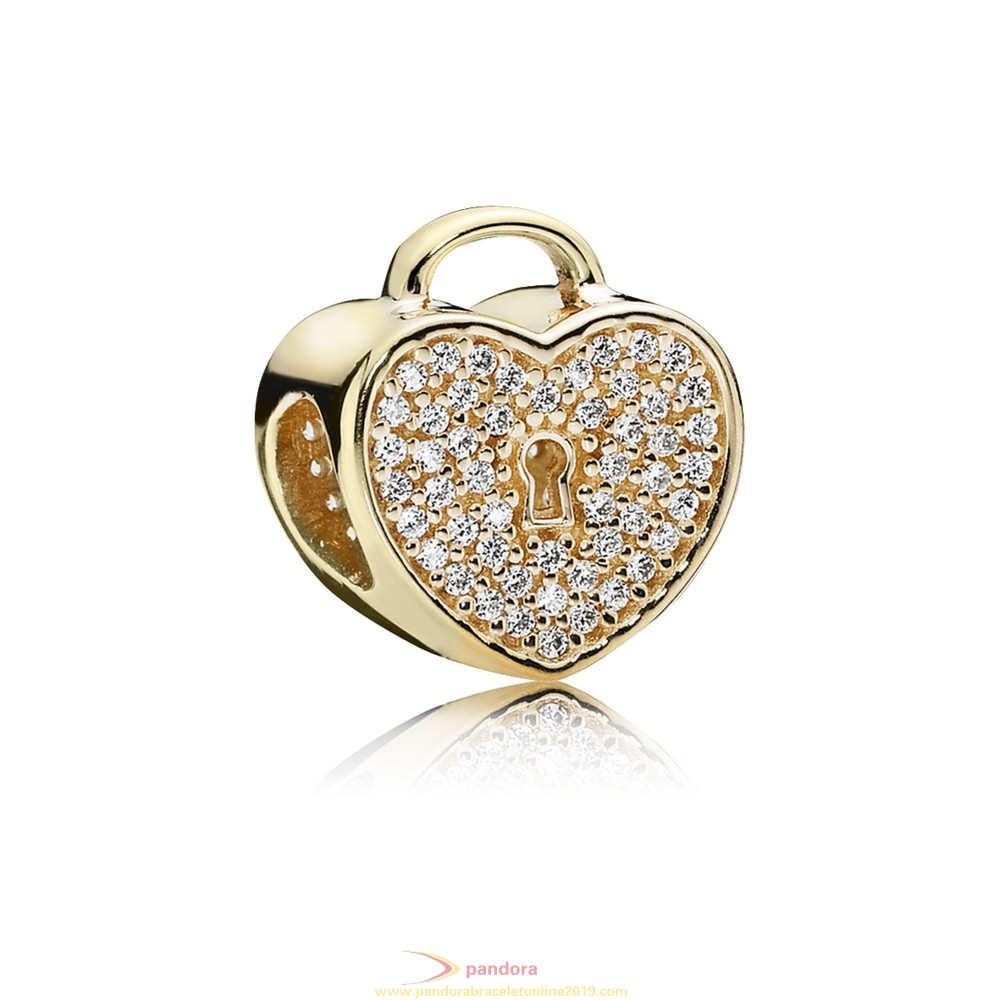 Find Pandora Jewelry Pandora Collections Heart Lock Charm Clear Cz 14K Gold