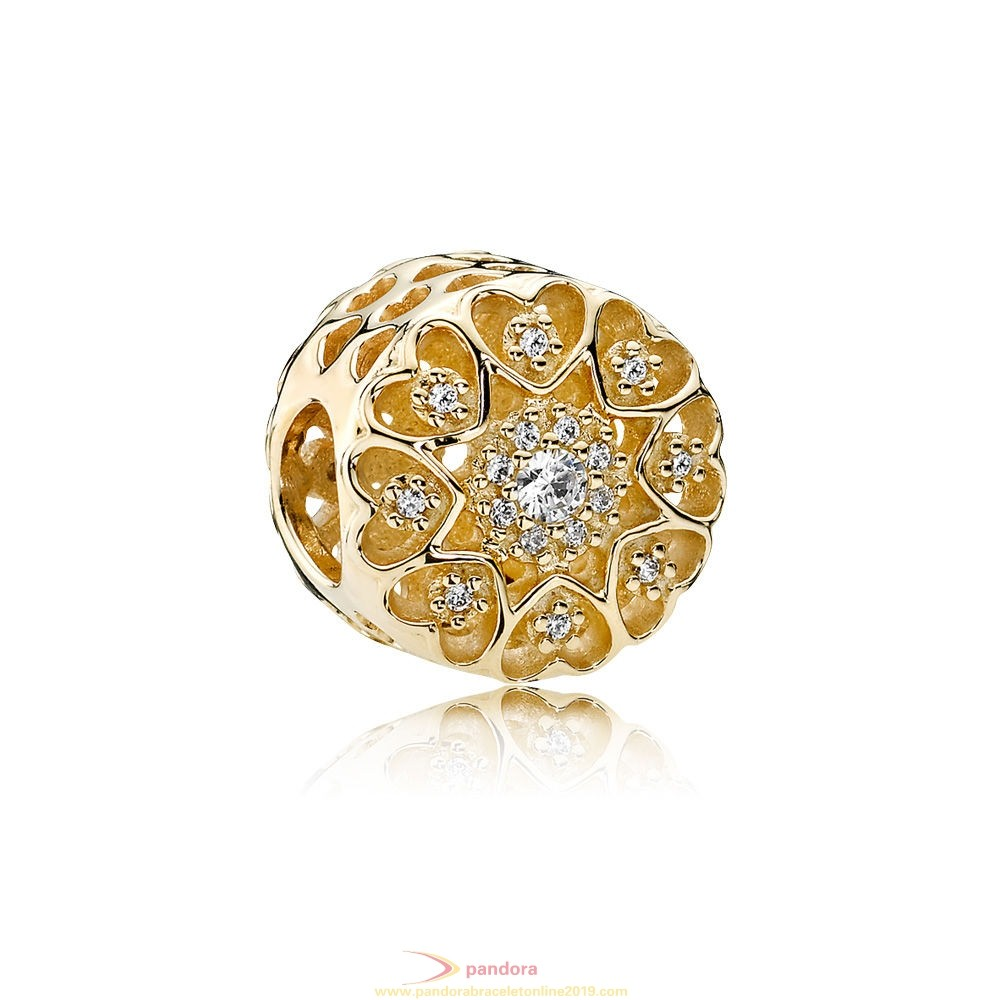 Find Pandora Jewelry Pandora Collections Hearts Of Gold Charm Clear Cz 14K Gold