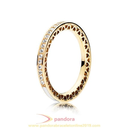 Find Pandora Jewelry Pandora Collections Radiant Hearts Of Pandora Ring 14K Gold Clear Cz