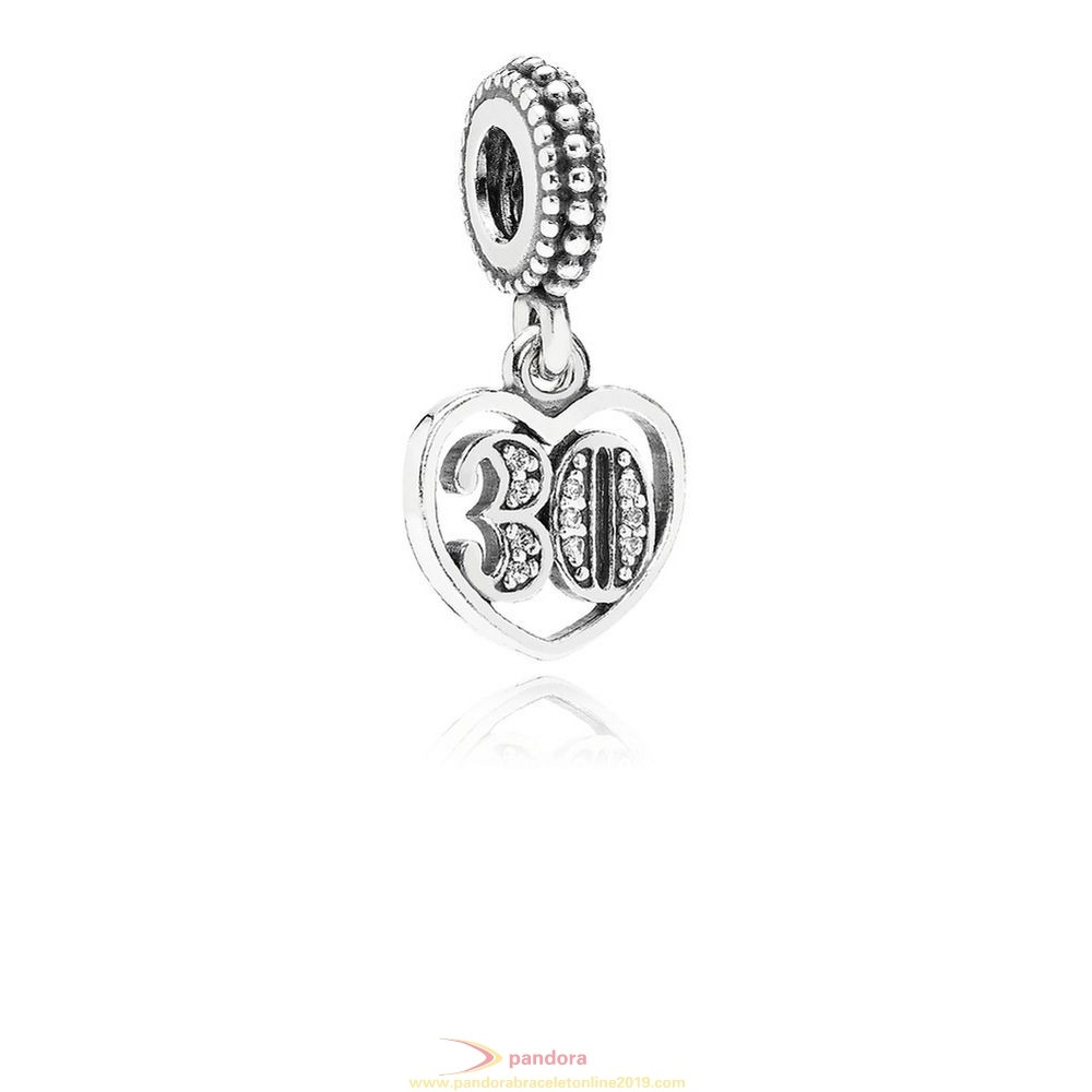 Find Pandora Jewelry Pandora Birthday Charms 30 Years Of Love Pendant Charm Clear Cz
