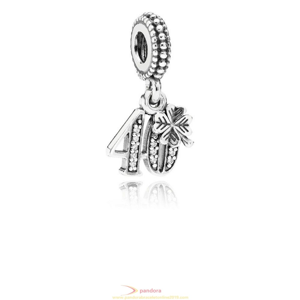 Find Pandora Jewelry Pandora Birthday Charms 40 Years Of Love Pendant Charm Clear Cz
