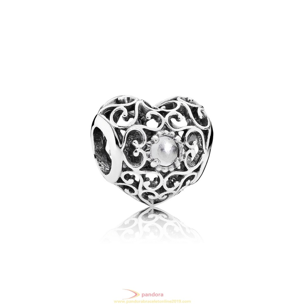 Find Pandora Jewelry Pandora Birthday Charms April Signature Heart Charm Rock Crystal