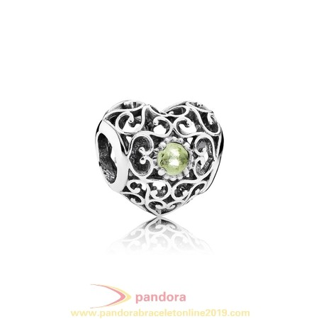 Find Pandora Jewelry Pandora Birthday Charms August Signature Heart Charm Peridot
