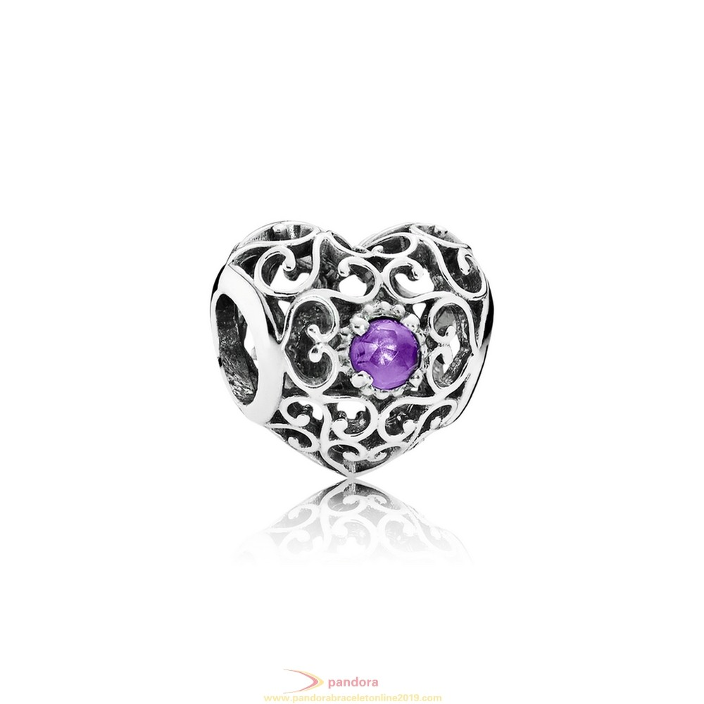 Find Pandora Jewelry Pandora Birthday Charms February Signature Heart Charm Synthetic Amethyst