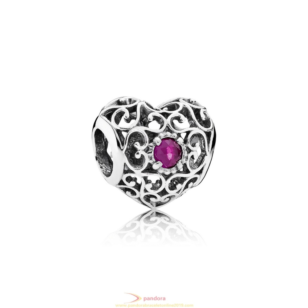 Find Pandora Jewelry Pandora Birthday Charms July Signature Heart Charm Synthetic Ruby