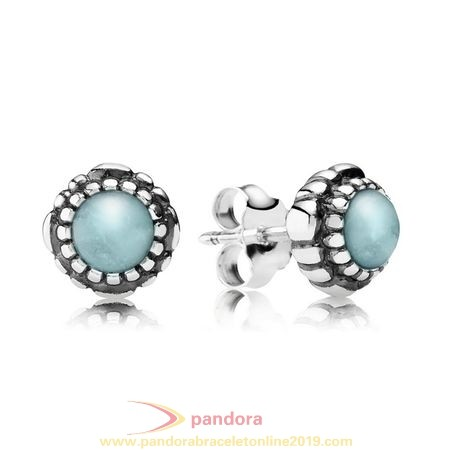 Find Pandora Jewelry Pandora Earrings Birthday Blooms Stud Earrings March Aquamarine
