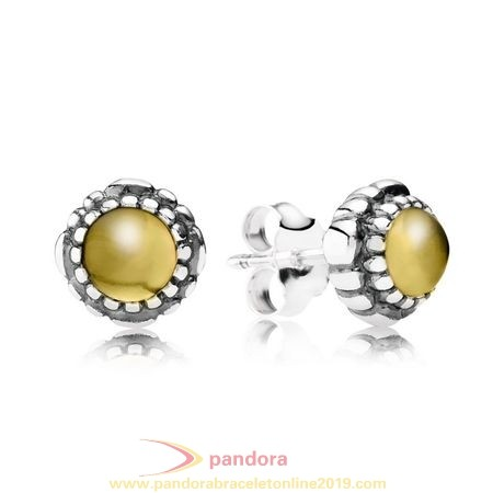 Find Pandora Jewelry Pandora Earrings Birthday Blooms Stud Earrings November Citrine