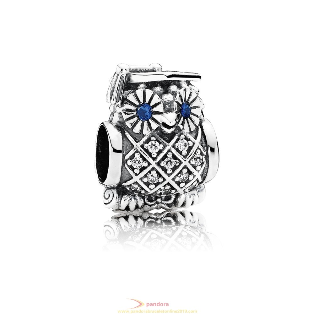 Find Pandora Jewelry Pandora Passions Charms Career Aspirations Graduate Owl Swiss Blue Crystal Clear Cz