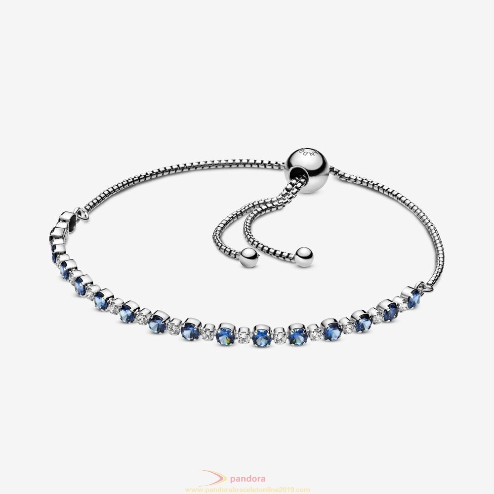 Find Pandora Jewelry Blue And Clear Sparkle Slider Bracelet