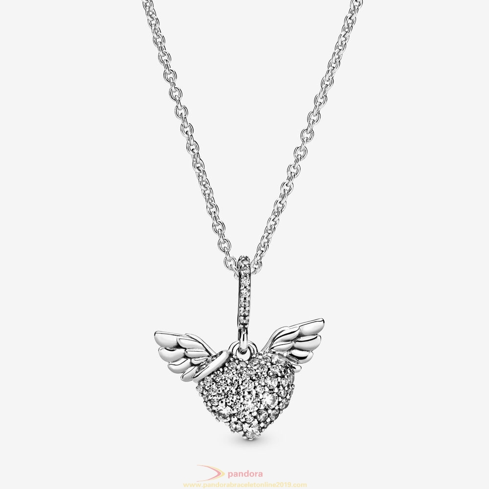 Find Pandora Jewelry Pavé Heart And Angel Wings Necklace