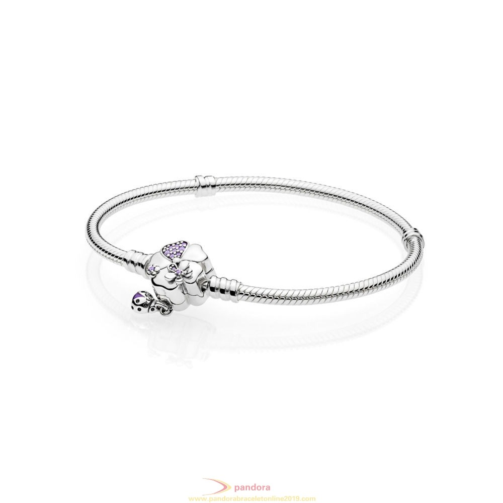 Find Pandora Jewelry Moments Silver Bracelet With Wildflower Meadow Clasp