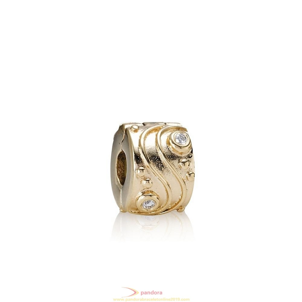 Find Pandora Jewelry Pandora Clips Charms Babbling Brook Abstract Gold Clip Diamonds