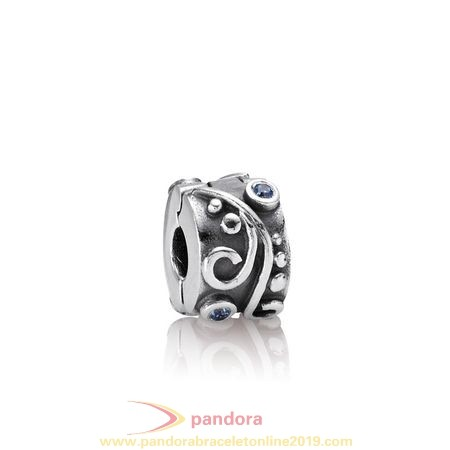 Find Pandora Jewelry Pandora Clips Charms Tendril Clip Blue Cz