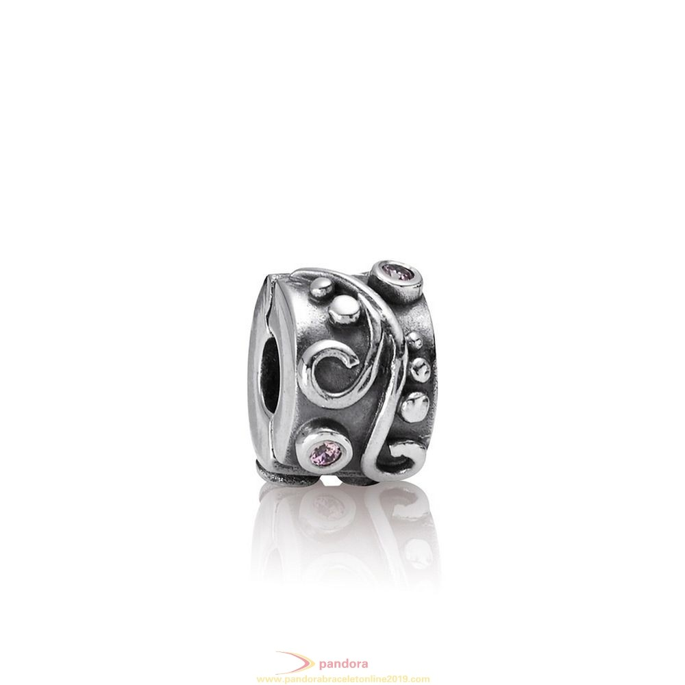 Find Pandora Jewelry Pandora Clips Charms Tendril Clip Pink Cz