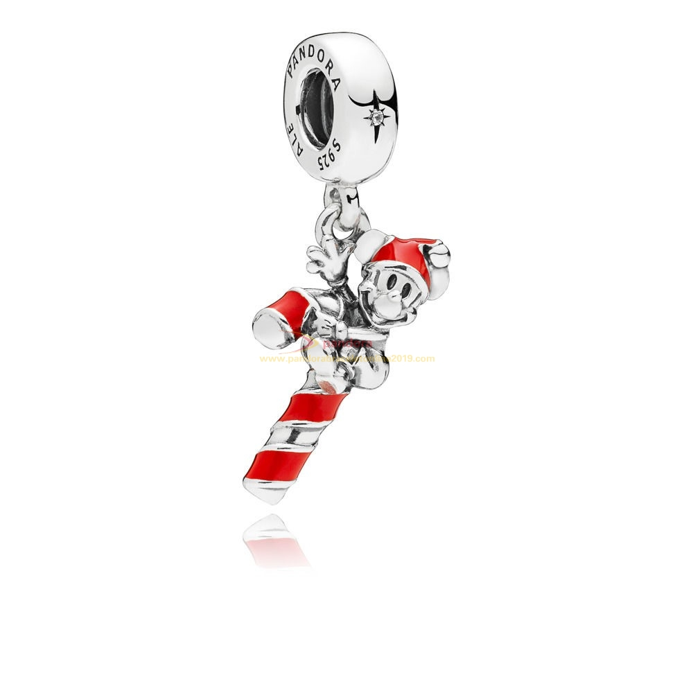 Find Pandora Jewelry Disney Santa Mickey'S Candy Cane Hanging Charm