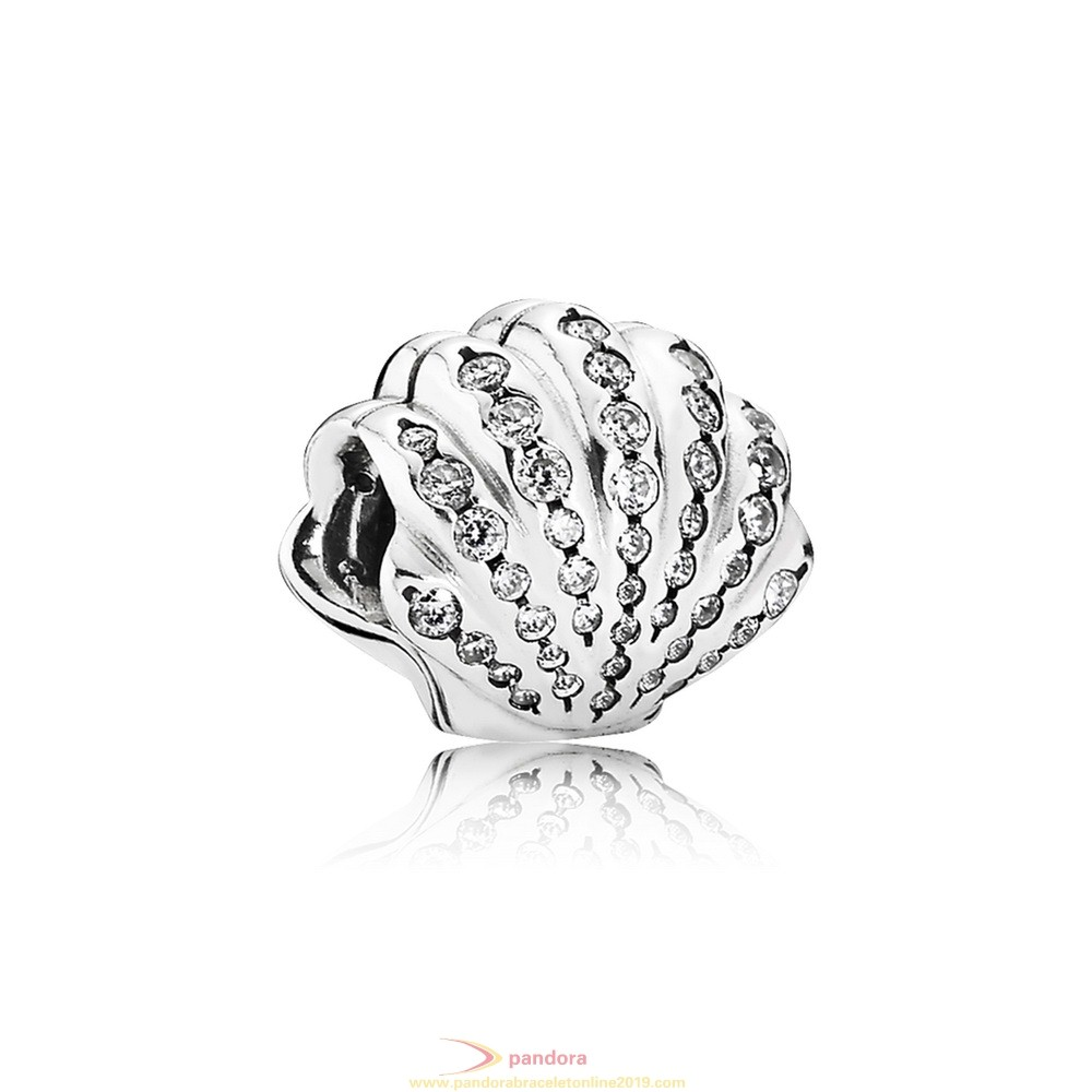 Find Pandora Jewelry Pandora Disney Charms Ariel'S Shell Charm Clear Cz