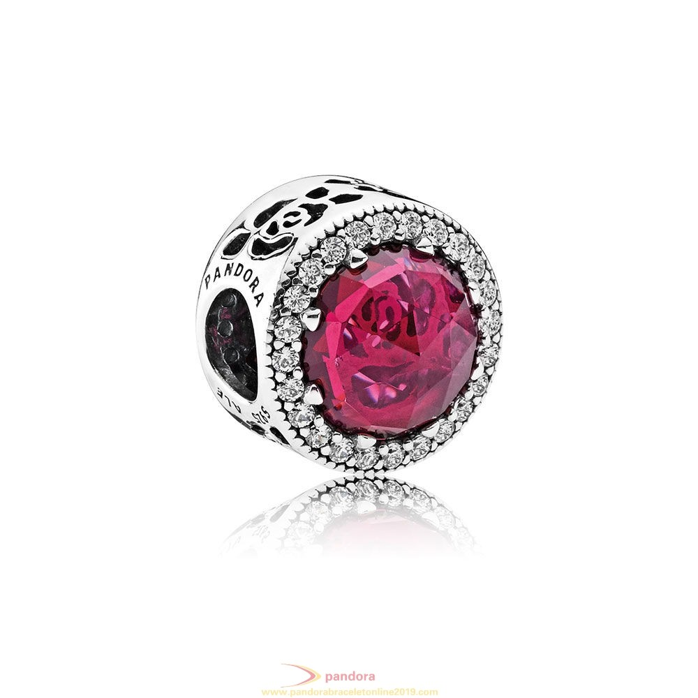 Find Pandora Jewelry Pandora Disney Charms Belle'S Radiant Rose Charm Cerise Crystals Cubic Zirconia