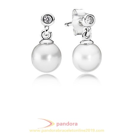 Find Pandora Jewelry Pandora Earrings Luminous Elegance Drop Earrings White Pearl Clear Cz