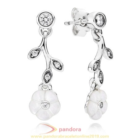 Find Pandora Jewelry Pandora Earrings Luminous Florals Drop Earrings Mother Of Pearl Clear Cz