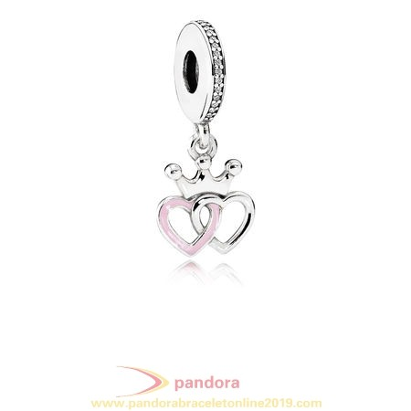 Find Pandora Jewelry Pandora Fairy Tale Charms Crowned Hearts Pendant Charm Orchid Pink Enamel Clear Cz