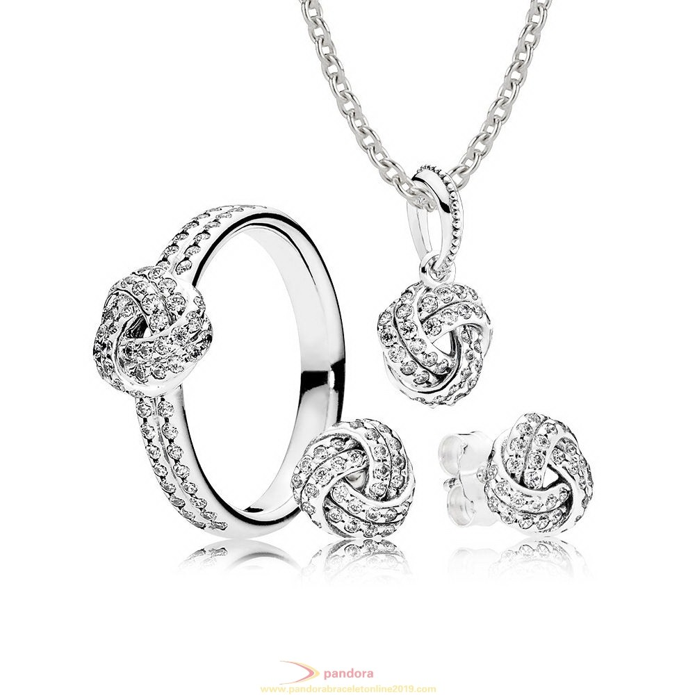 Find Pandora Jewelry Sterling Silver Sparkling Love Knot Gift Set