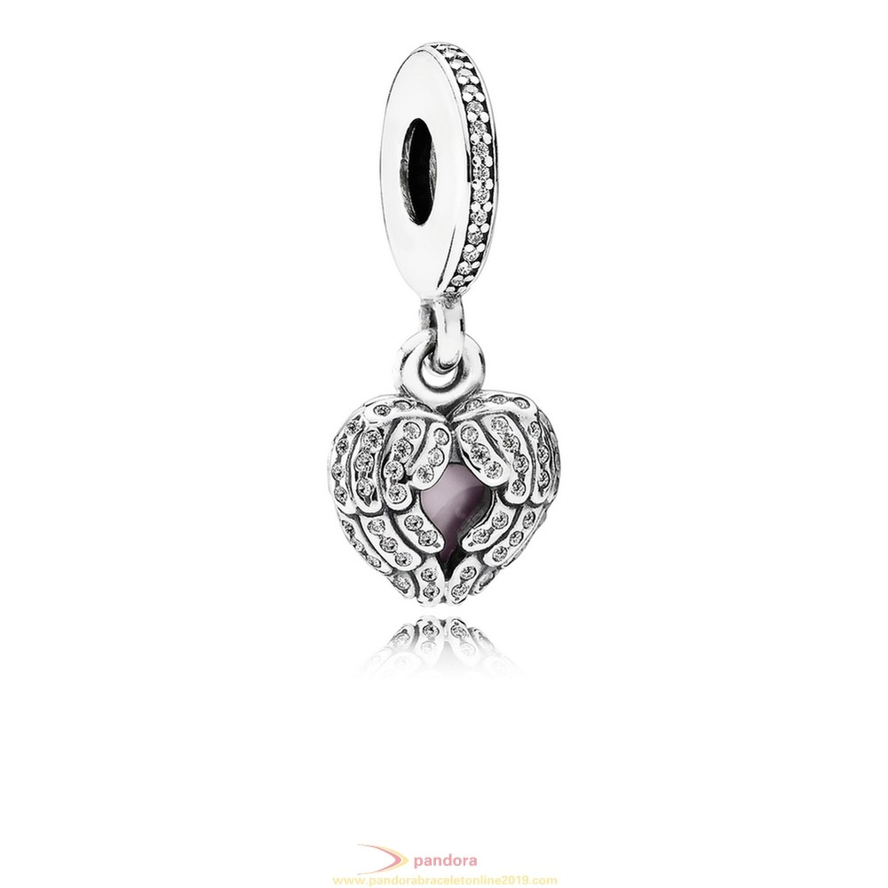 Find Pandora Jewelry Pandora Inspirational Charms Angel Wings Pendant Charm Clear Cz Pink Enamel