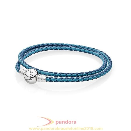 Find Pandora Jewelry Pandora Bracelets Leather Mixed Blue Woven Double Leather Charm Bracelet