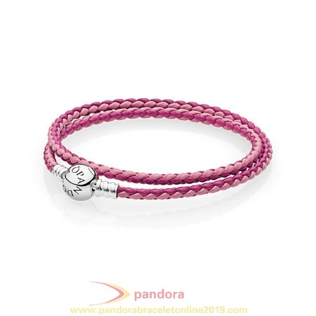Find Pandora Jewelry Pandora Bracelets Leather Mixed Pink Woven Double Leather Charm Bracelet