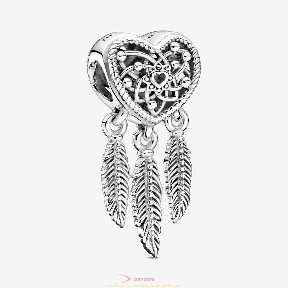 Find Pandora Jewelry Openwork Heart & Three Feathers Dreamcatcher Charm