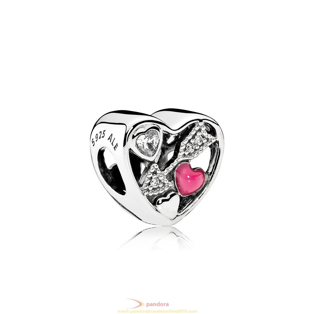 Find Pandora Jewelry Pandora Symbols Of Love Charms Struck By Love Magenta Enamel Clear Cz