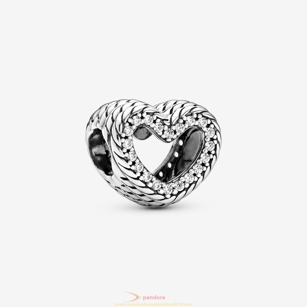 Find Pandora Jewelry Snake Chain Pattern Open Heart Charm