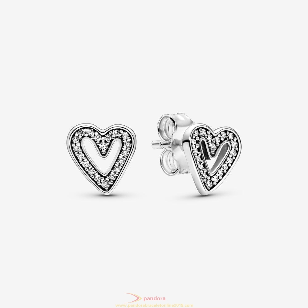 Find Pandora Jewelry Sparkling Hearts Sketch Earrings Studs