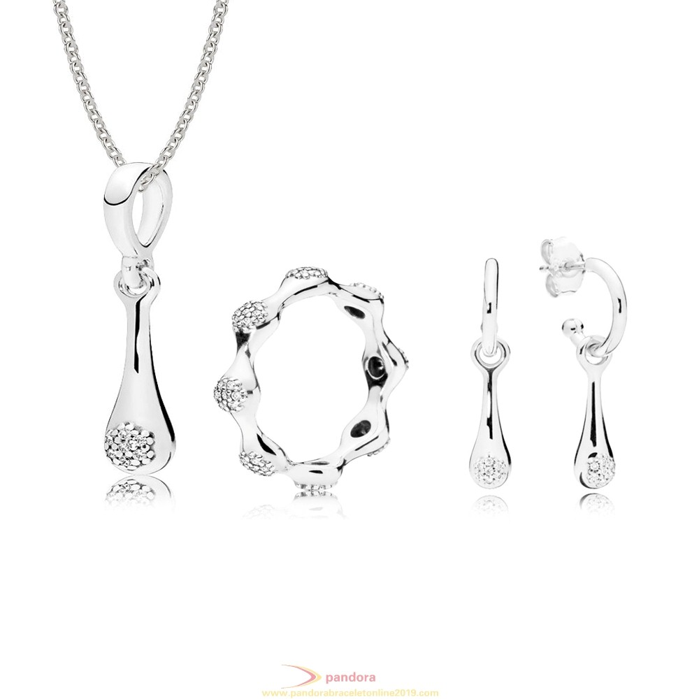 Find Pandora Jewelry Modern Lovepods Necklace Ring Earrings Set CZ