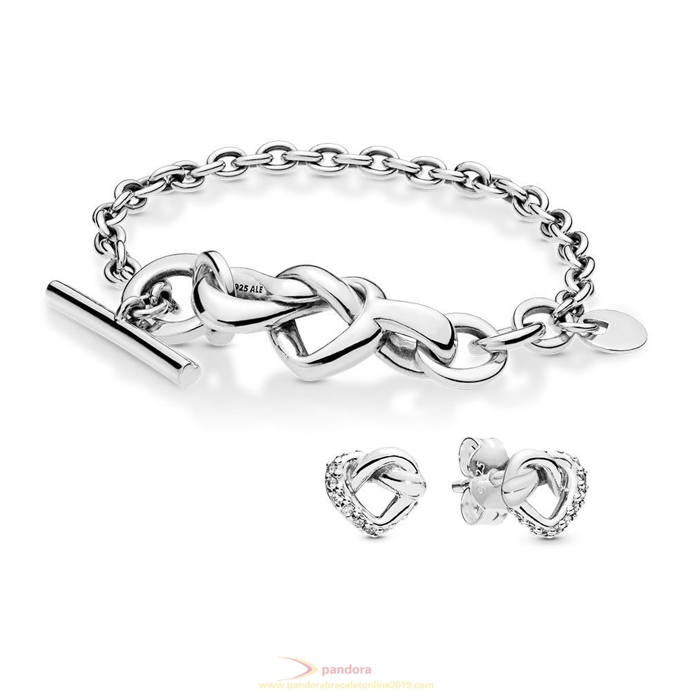 Find Pandora Jewelry Knotted Hearts Bracelet And Earring Gift Set
