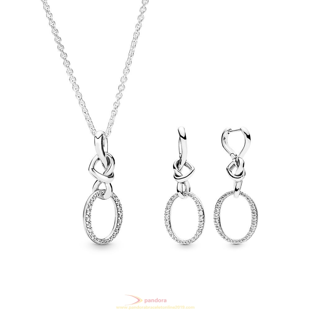 Find Pandora Jewelry Knotted Hearts Necklace And Earring Gift Set