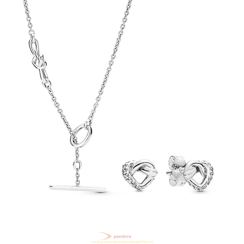 Find Pandora Jewelry Knotted Hearts Necklace And Earring Set