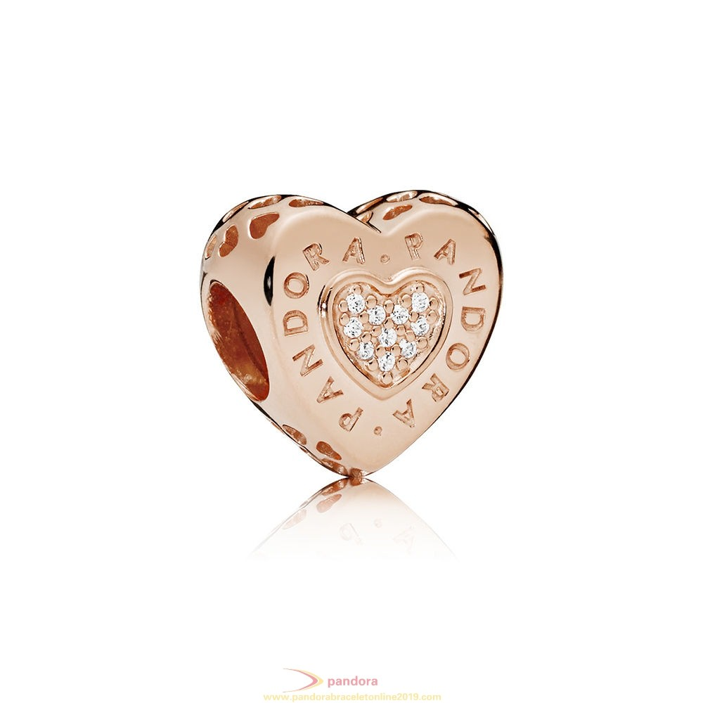 Find Pandora Jewelry Pandora Signature Heart Charm Pandora Rose Clear Cz