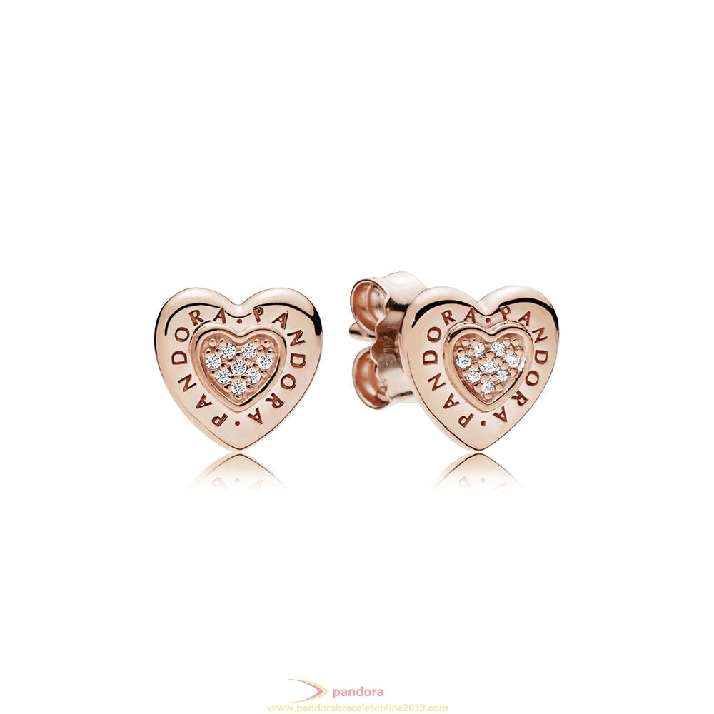 Find Pandora Jewelry Pandora Signature Heart Stud Earrings Pandora Rose Clear Cz