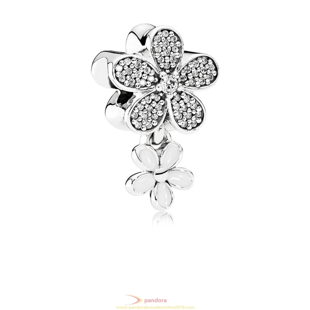 Find Pandora Jewelry Pandora Nature Charms Dazzling Daisy Duo White Enamel Clear Cz