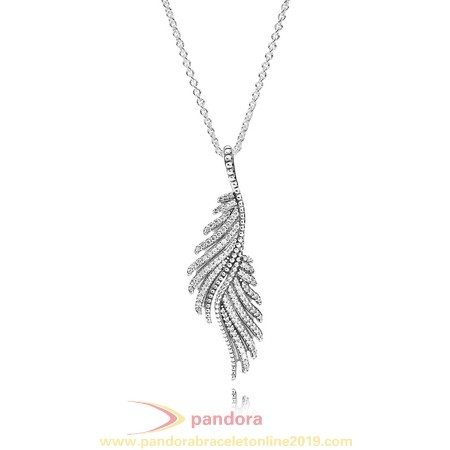 Find Pandora Jewelry Pandora Chains With Pendant Majestic Feathers Pendant Necklace Clear Cz