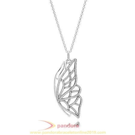 Find Pandora Jewelry Pandora Chains With Pendant New Beginning Butterfly Pendant Necklace Clear Cz