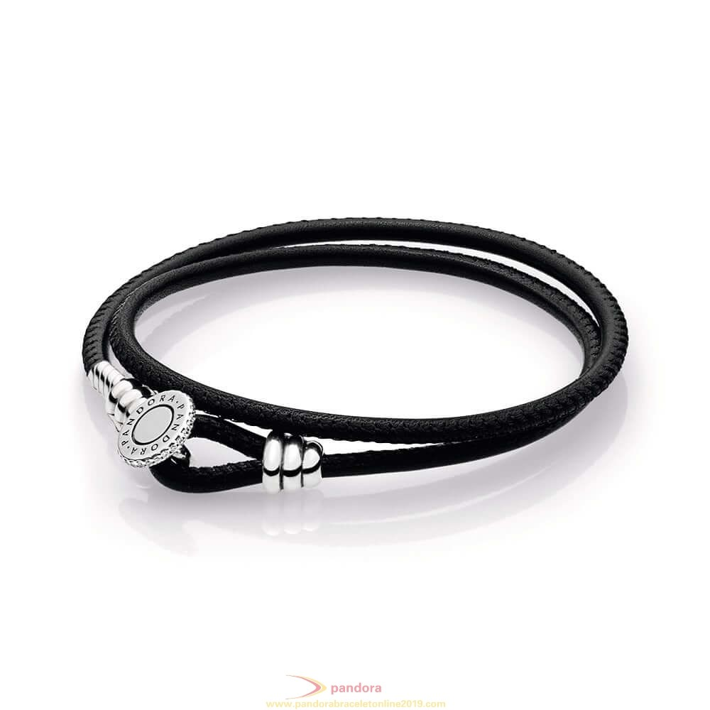 Find Pandora Jewelry Black Double Leather Bracelet Clear Cz