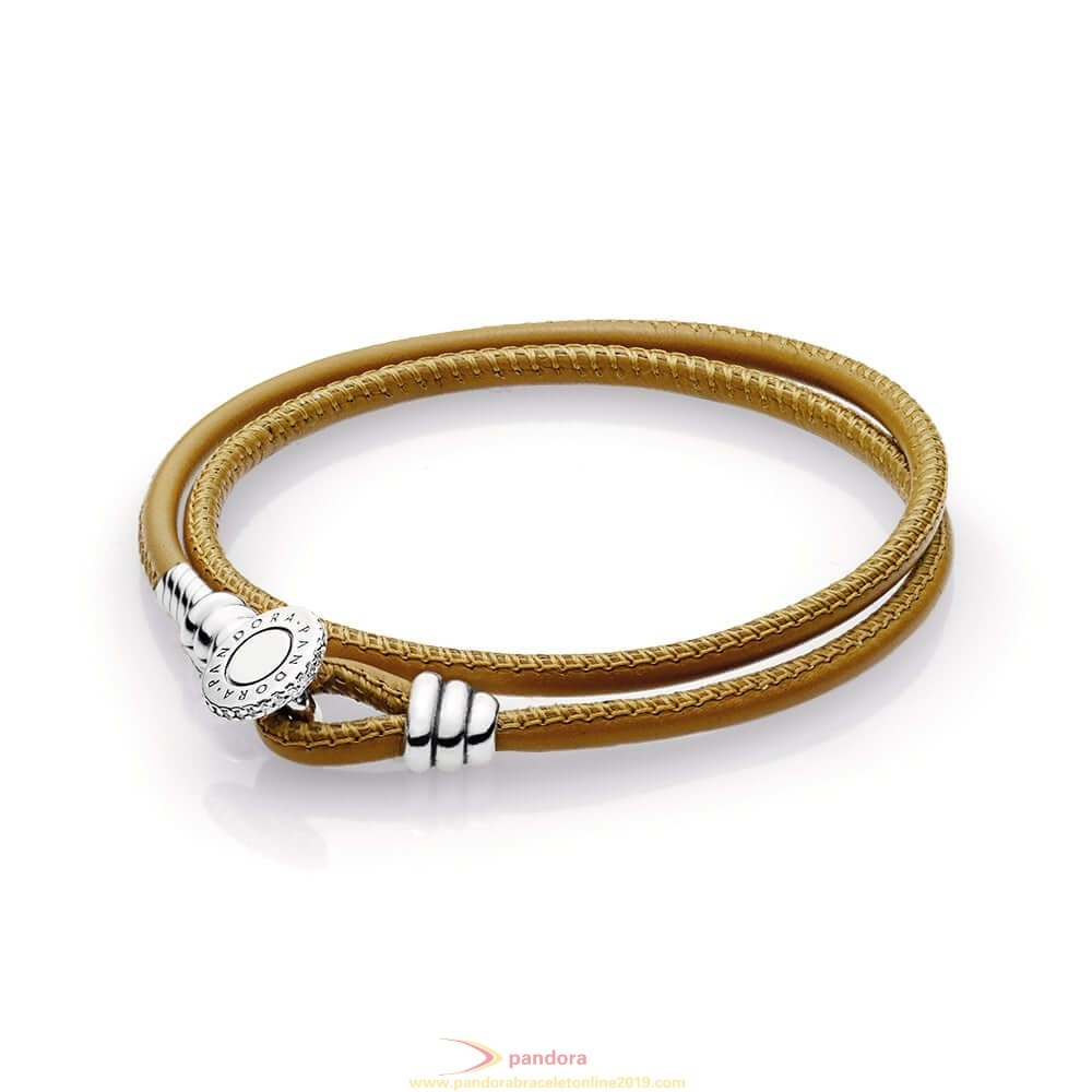 Find Pandora Jewelry Golden Tan Double Leather Bracelet Clear Cz