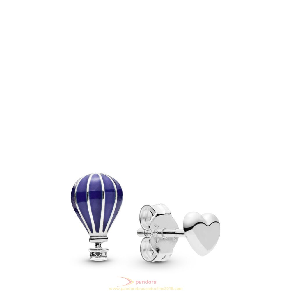 Find Pandora Jewelry Hot Air Balloon & Heart Stud Earrings