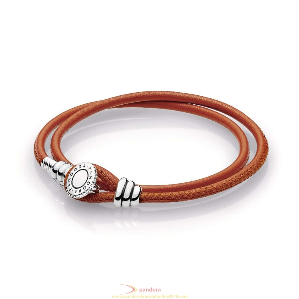 Find Pandora Jewelry Spicy Orange Double Leather Bracelet Clear Cz