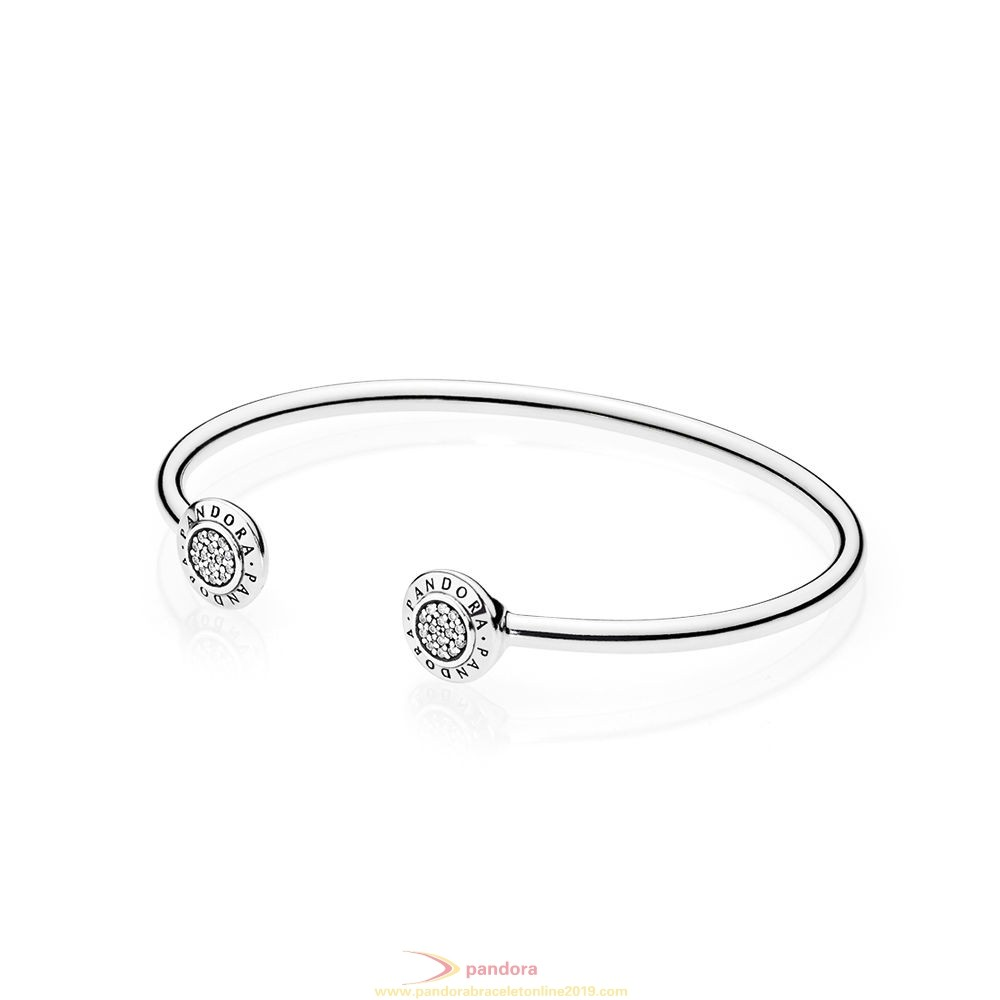 Find Pandora Jewelry Pandora Bracelets Open Banglepandora Signature Bangle Bracelet Clear Cz