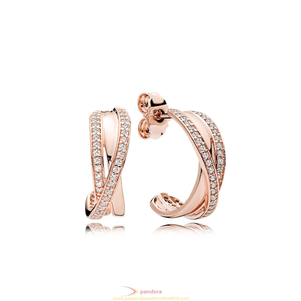 Find Pandora Jewelry Entwined Hoop Earrings Pandora Rose Clear Cz