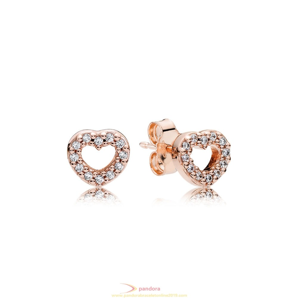 Find Pandora Jewelry Pandora Earrings Captured Hearts Stud Earrings Pandora Rose Clear Cz