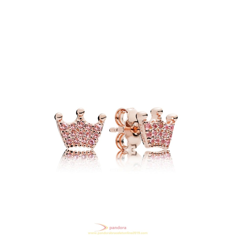 Find Pandora Jewelry Pandora Rose Pink Enchanted Crown Earring Studs